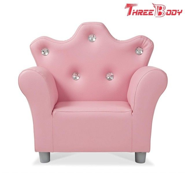 Comfy Modern Kids Furniture Child 'S Crown Armchair Pink PU Leather Sofa For Girls