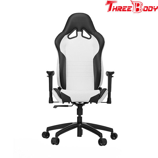 Commercial Executive Racing Office Chair Black And Gray And Orange Sturdy Metal Frame